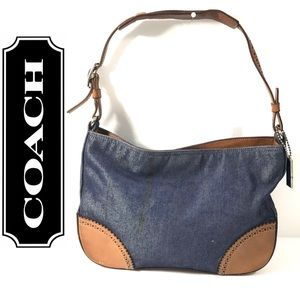 Coach Girlie Denim & Tan Leather Purse